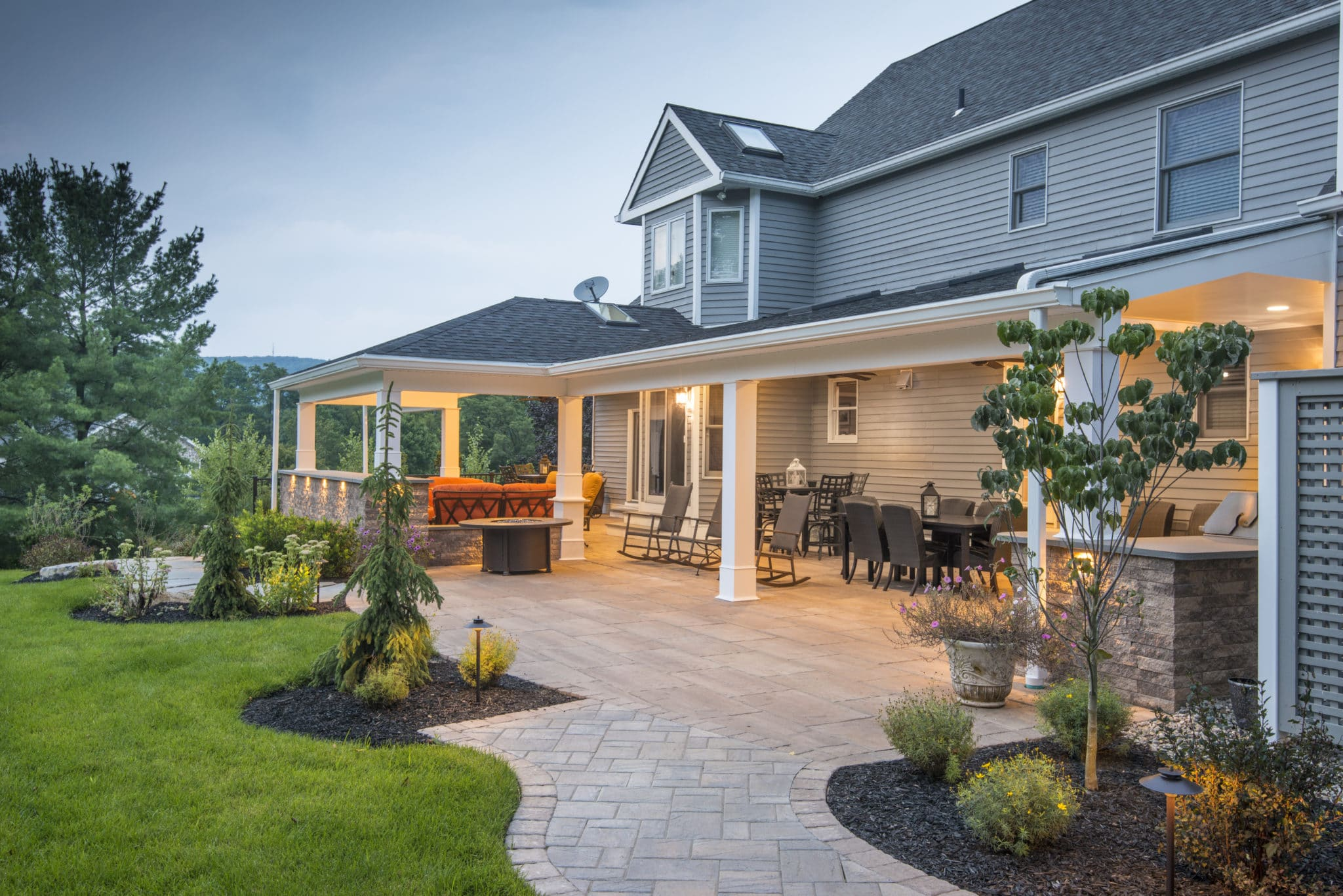 Covered porch and landscape lighting