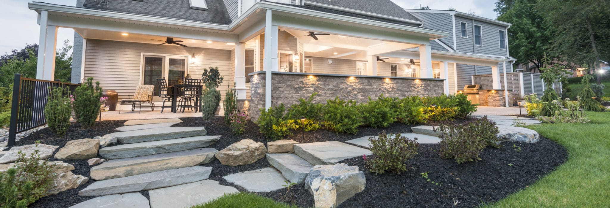 Chestnut hill landscape contractors covered patio